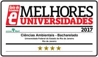 selo com as quatros estrelas que o curso de Bacharelado em Ciências Ambientais recebeu do Guia de Estudantes Abril.