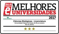 Selo com as três estrelas que o curso de Licenciatura em Ciências Biológicas integral recebeu do Guia do Estudante neste ano de 2017